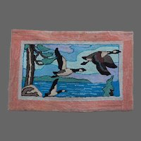 Canadian Hooked Rug Primitive Art Geese