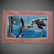 Canadian Hooked Rug Primitive Art Geese