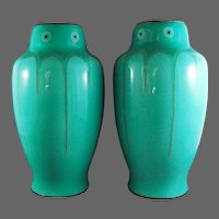 Pair Signed Ando Jubei Art Deco Enamel Sterling Vases