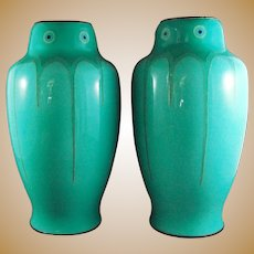 Pair Signed Ando Jubei Art Deco Enamel Sterling Vases