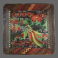 Antique Japanese Cloisonne Plate EDO Period Kaji Tsunekichi SQUARE