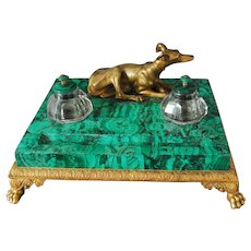 Imperial Russian Ormolu Bronze Malachite Inkwell Greyhound Dog