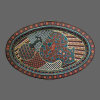 Edo Japanese Cloisonne Oval Tray Dish Middle Period Abstract Design