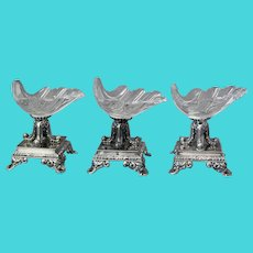 Set THREE French Salts SHELLS Sterling Silver Crystal Veyrat C. 1840