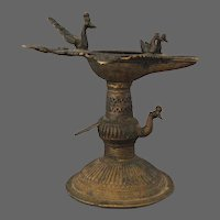 19th Century Bronze Ritual Peacock Lamp India