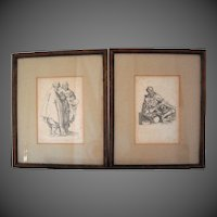 Old Master Prints Jacques Callot 1592 – 1635 French Pair Etching