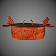 Scandinavian Folk Art Tine Bent Box 19th Century Painted