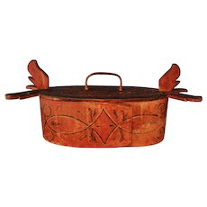 Scandinavian Folk Art Tine Bent Box 19th Century Painted
