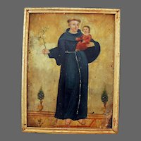 Spanish Colonial Folk Art Retablo Religious Painting on Tin