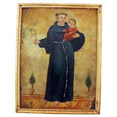 Spanish Colonial Folk Art Retablo Religious Painting on Tin