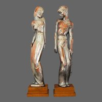 American Art Deco Sculpture PAIR Man Woman  Marshall Fields & Company