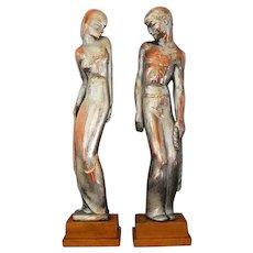 American Art Deco Sculpture PAIR Man Woman  Marshall Fields & Company
