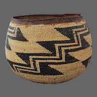 Antique Native American Indian Basket LARGE Bowl Hupa Karok Yurok