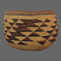 Hupa Basketry American Indian Large Basket Bowl 19th C.