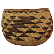 Hupa Basketry American Indian Large Basket Bowl 19th C.