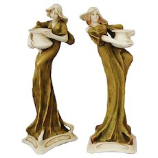 Pair Art Nouveau Candlesticks Royal Dux Bohemia Ladies