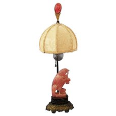Chinese Rose Quartz Carving Bird  Boudoir Lamp American makers Nicholas Haydon, Edward Farmer