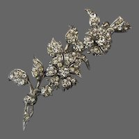 Vintage Flower Spray Brooch Edwardian Paste Sterling Silver