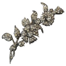 Vintage Flower Spray Brooch Edwardian Paste Sterling Silver