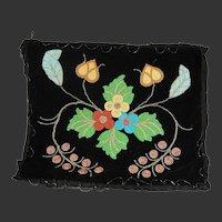 Chippewa Beadwork Black Velvet American Indian Beaded Apron Pillow