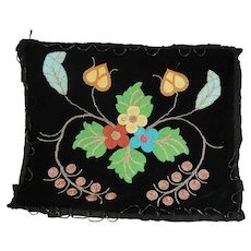 Chippewa Beadwork Black Velvet American Indian Beaded Apron Pillow