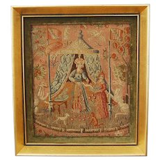 French Petite Point Needlework Silk Tapestry Lady and the Unicorn Framed