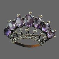 Victorian Crown Brooch Amethyst Pearl Pin