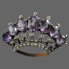 Victorian Crown Brooch Amethyst Pearl Sterling Silver Pin