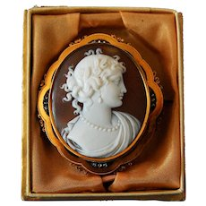 Victorian Gold Diamond Cameo Brooch Flora Goddess