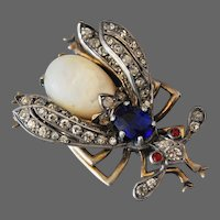 Signed French Bug Brooch Sterling Silver Paste 19th C.