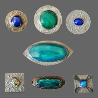 Pewter Pottery Enamel Campden School of Arts and Crafts Ashbee Collection Brooches