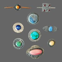 Collection 9 Arts and Crafts Pewter Ruskin Brooches by Prentice Chipping Campden