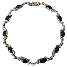 Vintage Taxco Mexico Necklace Black Onyx Sterling Silver LINKS Mexican