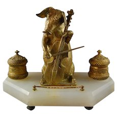 19th Century French Double Inkwell Pig Playing Cello