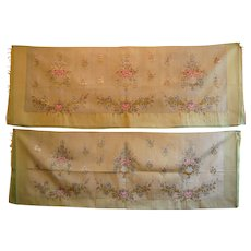 French Silk Cotton Tapestry Hand Woven Upholstery Roses Rosebud Settee 2 PCS.