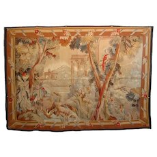 Hand Woven Wool French Style Tapestry Gardens Castle Birds