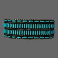 Native American Indian ZUNI Turquoise Silver Bracelet Cuff Calvin and Francie Eustace