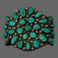Southwest American Indian Silver Bracelet Turquoise Cuff MASSIVE