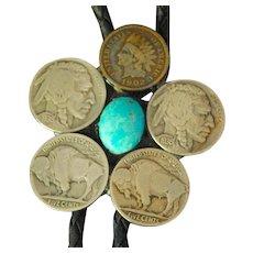 Western Bolo Tie Buffalo Head Nickel Coins,1902 Penny, 1907 Nickel Turquoise