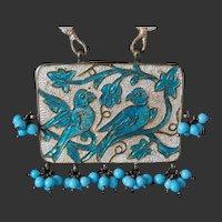 India Enamel Silver Necklace Bluebirds Ethnic Glass Beads Meenakari