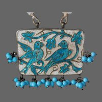 India Enamel Silver Necklace Bluebirds Ethnic Glass Beads Meenakari