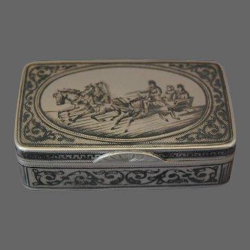 Russian Silver Snuff Box Pyotr Abrosimov Niello Troika