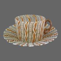 Venetian Murano Teacup and Saucer Latticino Gold Italian Glass