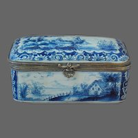 Dutch Delft 19th C. Table Snuff Box Casket Scenes Faience Signed