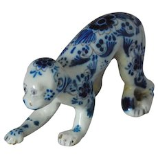Tin Glaze Monkey Figure Dutch Delft 19th C. Signed