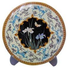Japanese Cloisonne Meiji Plate Dragons Iris' Yellow Enamel