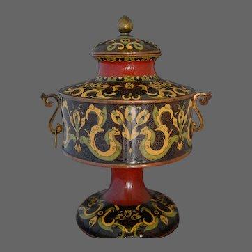 Japanese Cloisonne Lidded Jar Double Handled Koro Enamel Meiji Period
