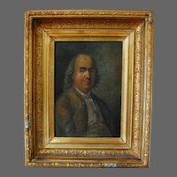 Portrait Painting of Benjamin Franklin Oil on Board