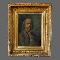 Portrait Painting of Benjamin Franklin Oil on Board