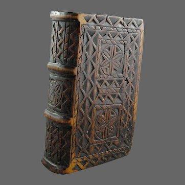 19th C. Wooden Folk Art Bible Box Primitive Art